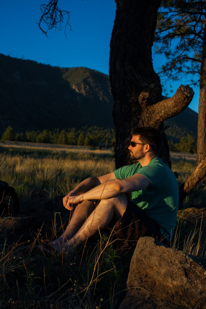 My friend kept me company while I tried to capture a sunset shot in Flagstaff, AZ
